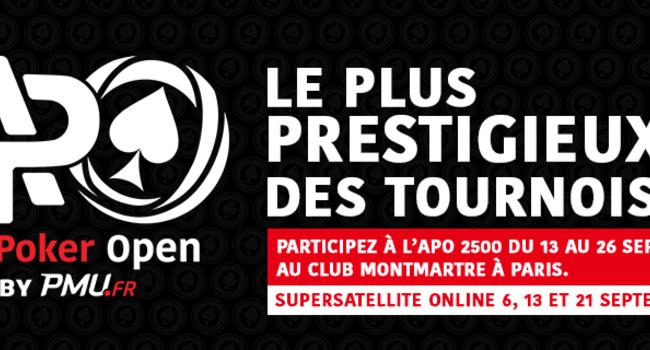 Super Satellites, Freeroll, Tournoi des Champions… Qualifiez-vous pour l'APO 2500 sur PMU.fr!
